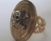 Memento Mori Locket Ring Hidden Skeleton Skull and Crossbones Victorian Steampunk