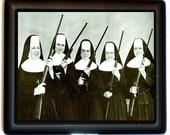 Nuns with Guns Cigarette Case Nun Catholic Religious Kitsch Rifles ID Wallet Business Card Holder Funny Humor Odd Strange Image