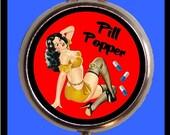 Pill Popper Pinup Brunette Pill Case Model Kitsch Design Sweetheartsinner Stainless Steel