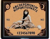 Flapper Ouija Board Cigarette Case Art Deco Vamp with Skeleton Goth Occult Theda Bara Mystical ID Business Card Credit Card Holder Wallet