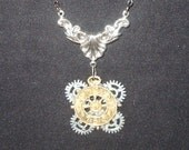 Victorian Steampunk Necklace Slave of Industry Clock Gear Pendant