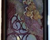 Flying Angels Cigarette Case Business Card Holder Wallet Fairy Tale Illustration Raven Women Gothic Goth Birds Poe