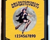 Ouija Board Flying Witch Cigarette Case Business Card Holder Wallet on broomstick against Full Moon Sexy Pinup Black Metal