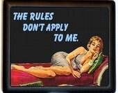 The Rules Dont Apply to Me Cigarette Case Business Card Holder Wallet Retro Vintage Design Pulp Attitude Diva Black Metal