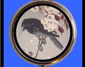 Crow Cherry Blossom Pillbox Japanese Woodblock Japan Pill Box Case Holder New Blackbird birth control case