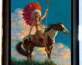 Pinup Indian Maiden on Horse Cigarette Case or Business Card Holder