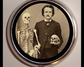 Victoriana Edgar Allan Poe with Skull Skeleton Medical Gothic Pillbox Pill Box Case Holder for Vitamins Pills - sweetheartsinner