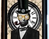 Steampunk Abraham Lincoln Cigarette Case Victorian U.S. President Top Hat Dapper Historical ID Business Card Credit Card Holder Wallet