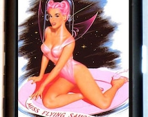 Miss Flying Saucer Pin Up Cigarette Case Business Card Holder Wallet Science Fiction Sci Fi SF Pinup Pin up Rockabilly Retro Gal