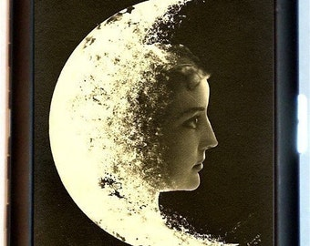 Moon Face Woman Cigarette Case Business Card Case Womans Face in Moon Celestial Whimsical Moon Goddess