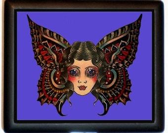 Tattoo Skullerfly Cigarette Case Business Card Case Wallet Butterfly Face Tattoo Flash