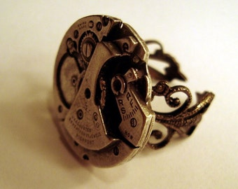 Victorian Steampunk Silver-Tone Watch Gear Mechanism Ring New