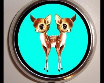 Siamese Twin Deer Pillbox Kawaii Woodland Creatures Big Eye Kitsch Pill Box Case Holder for Vitamins Pills