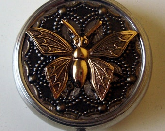 Victorian Goth Edwardian Art Nouveau Butterfly Nature's Nectar Pill Case Or Trinket Box