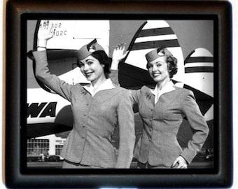 Flight Attendant Cigarette Case Kitsch Retro 1950's Stewardess Airplane Airline Worker ID Business Card Credit Card Holder Wallet
