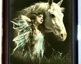 Edwardian Horse Cigarette Case Art Nouveau Woman Equestrian Riding Rider Fantasy Horses ID Business Card Credit Card Holder Wallet