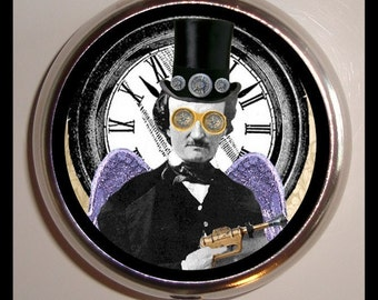 Edgar Allan Poe Steampunk Tophat Winged Surreal Pill box Pillbox Case Holder Sweetheartsinner