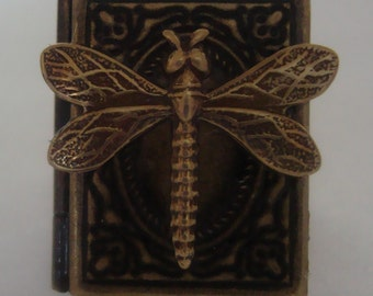 Victorian Steampunk Dragonfly's Book Brass Rectangle Locket Ring NEW