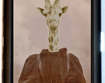 Victorian Giraffe Cigarette Case Anthropomorphic Giraffe Woman Altered Art Surreal Oddity ID Business Card Credit Card Holder Wallet