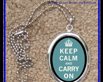 Keep Calm and Carry On Mantra Silver Pendant Necklace