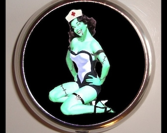 Pinup Zombie Nurse Pin up Psychobilly Goth Horror Pillbox Pill Box Case Holder for Vitamins Pills