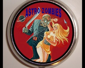 Zombies Exploitation Poster Pill box Pillbox Case Holder for Vitamins Drugs Birth Control