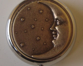 Victorian Steampunk Man in the Moon Pill Case Or Trinket Box Moon Eclipse