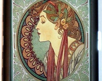 Mucha Goddess Cigarette Case Business or ID Case Wallet Edwardian Victorian Artwork Painting