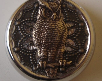 Victorian Goth Edwardian Art Nouveau Mr. Owl Pill Case Or Trinket Box New birth control case