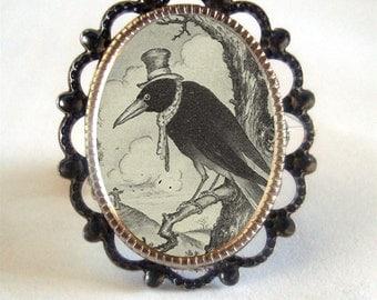 Victorian Hobo Crow Blackbird Silver Tone Filigree Ring