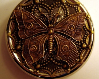 Victorian Butterfly Pill Case Or Trinket Box Style Two Steampunk Brass Woodland Traditional Victorian