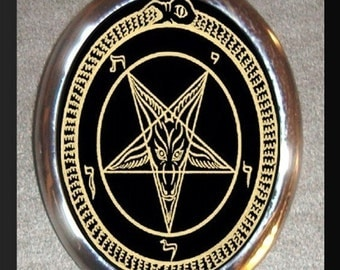 Satanic pentagram Devil Worshipper Worship with Pride Silver Plated Brooch Pin