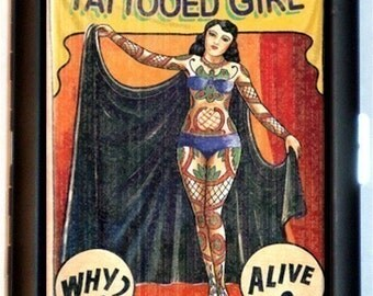 Tattooed Lady Cigarette Case Sideshow Banner Circus Oddity Tattoo Tattoos Rockabilly Retro ID Business Card Credit Card Holder Wallet