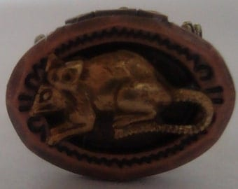 Victorian Steampunk Rat Tales Oval Locket Ring for Rat Lovers