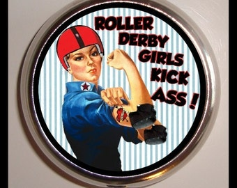 Roller Derby Pill Box Case Pillbox Stainless Steel Sweetheartsinner Girls Kick Butt Rosie the Riveter Roller Skating Skater for Guitar Picks
