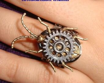 Victorian Steampunk BeetlePunk Gear Locket Ring Mechanical  Unisex Ring
