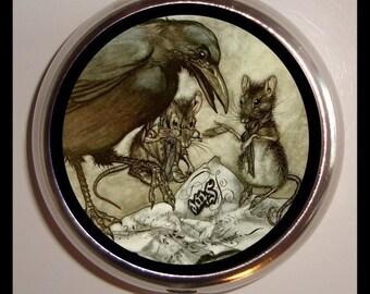 Rackham Crow Rats Raven Mice Pill box Pillbox Case Children's Book Illustration Gothic Fairytale Fairy Tale Whimsical birth control case