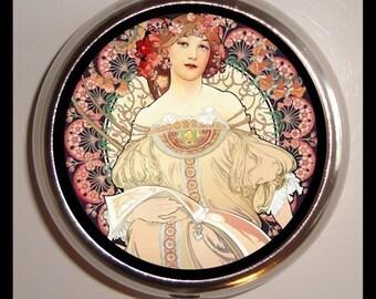 Alphonse Mucha Goddess Pill box Pillbox Case Holder Edwardian Poster