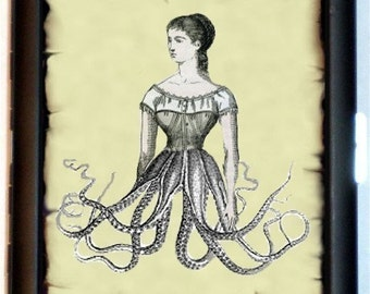 Half Woman Half Octopus Cigarette Case Business Card Holder Wallet Surreal Victorian Woman Esoteric Victoriana Art