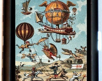 Early Flight Steampunk Industrial Cigarette Case Business Card Holder Wallet Airplanes Flying