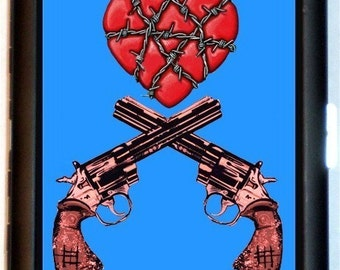 Crossed Guns & Heart Cigarette Case Business Card Case Wallet