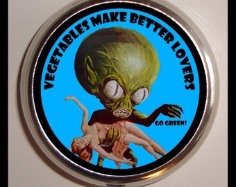 Vegetarian Humor Pill box Pillbox Case Vitamin HolderTrinket Box Sweetheartsinner Gift for Vegan Vegetables Make better Lovers Retro Sci Fi