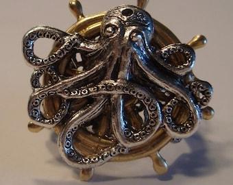 Victorian Steampunk OCTOPUS NAUTICUS Octopus on Ship Wheel Ring NEW sweetheartsinner
