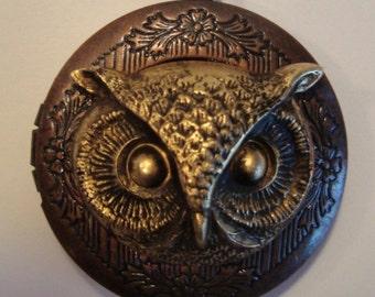 Victorian Steampunk THE ELEGANT OWL Locket Necklace New Brass