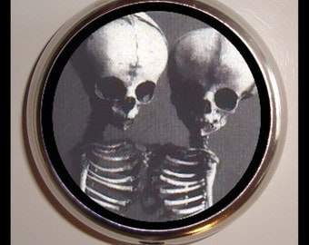 Siamese Skeletons Pillbox Pill Box Case Holder for Vitamins Drugs Circus Sideshow Medical Oddity Conjoined Twins Goth Horror Macabre