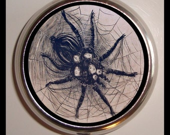 Spider Woman Pillbox Pill Box Case Holder for Vitamins Pills Victorian Goth Horror Weird Image Holds Guitar Picks Medicine