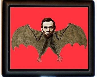 Abraham Lincoln Bat Cigarette Case Horror Altered Art Pop Surrealism ID Business Card Credit Card Holder Wallet