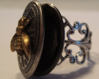 Victorian Steampunk FLIGHT Of the HONEY BEE Locket Ring New
