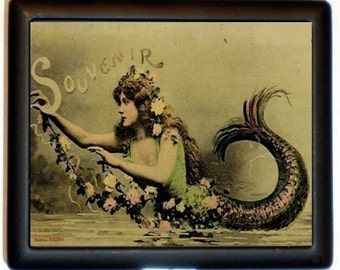 Art Nouveau Mermaid Cigarette Case or Id Holder or Business Card Case Wallet