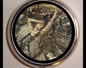 Woman of the Waves Pill box Pillbox Case Holder for Vitamins Drugs Birth Control Childrens Book Illustration Surreal Goth Rackham Art